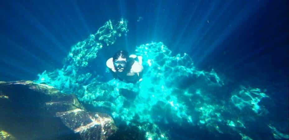 diving en el gran cenote de Tulum